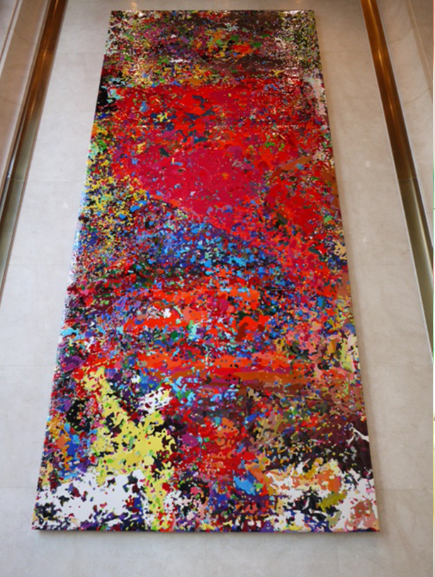 Peter Zimmermann – Neuro, 2013, 636 x 212 cm, epoxy resin on canvas, Connaught Road, Hong Kong, lobby