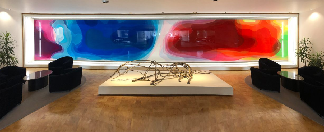 Peter Zimmermann – garden, 2018, 1432,5cm x 249 cm, Epoxy rasin on honeycomb plate, Hallmark – USA