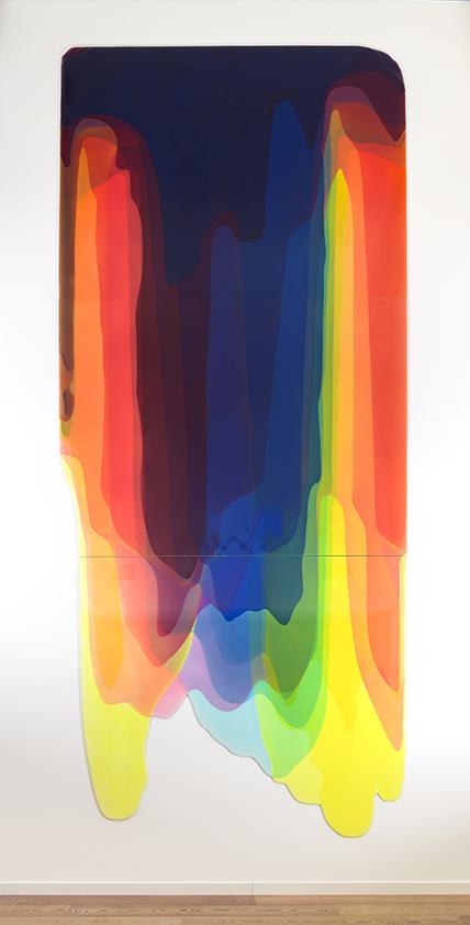 Peter Zimmermann – torrent, 2017, 600x260cm, epoxy resin on honeycomb plate