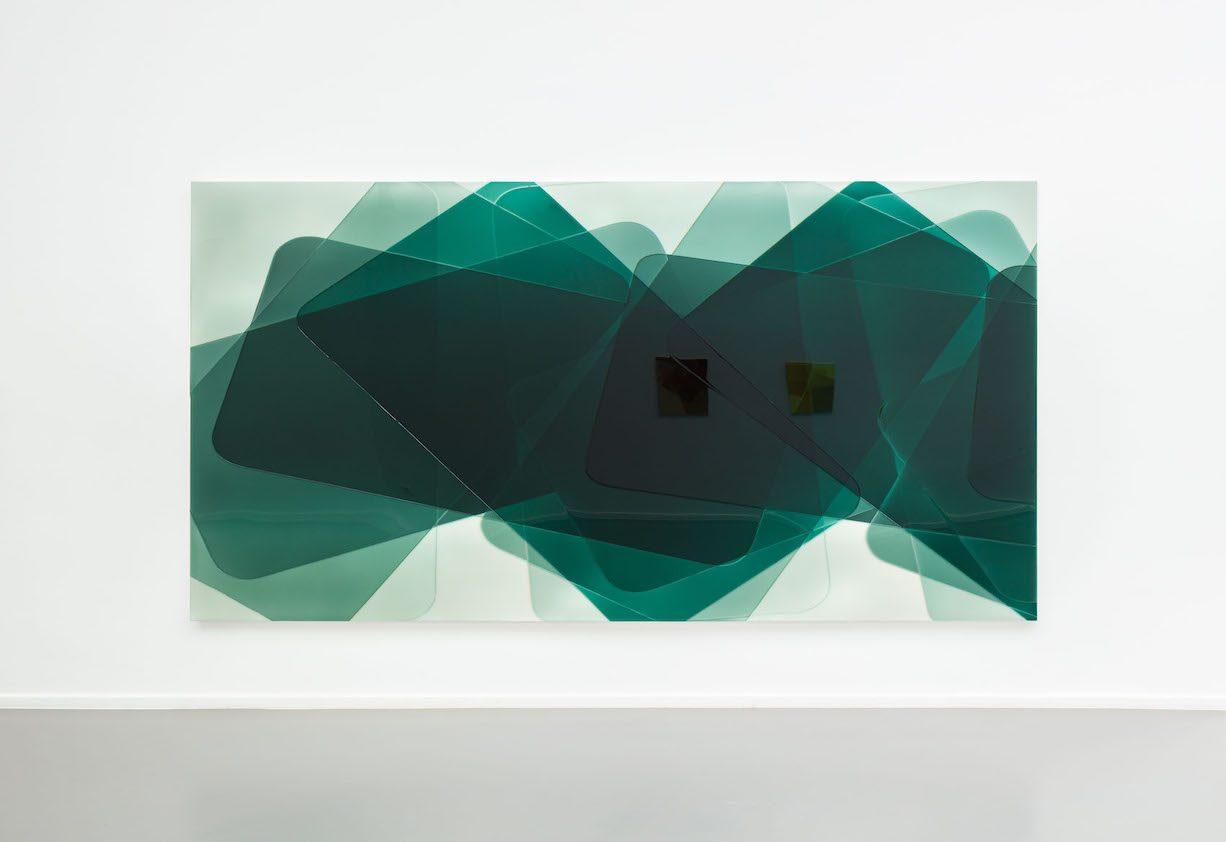 Peter Zimmermann – green glas, 2019, 200 x 300 cm, Epoxy resin on canvas (installation view)