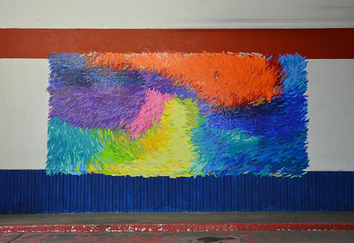 Peter Zimmermann – fett wo schö, 2015, 120 x 300 cm, stickers on wall.