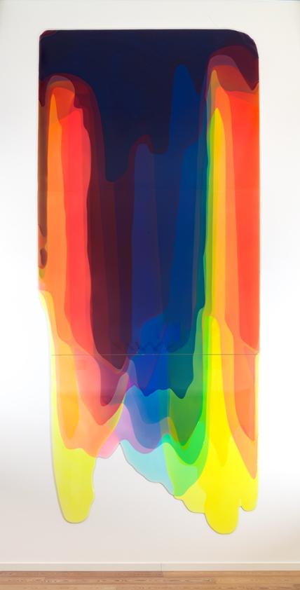 Peter Zimmermann – torrent, 2017, 600 x 260 cm, epoxy resin on honeycomb panel